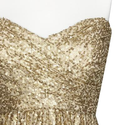 tube top spangles maxi dress gold
